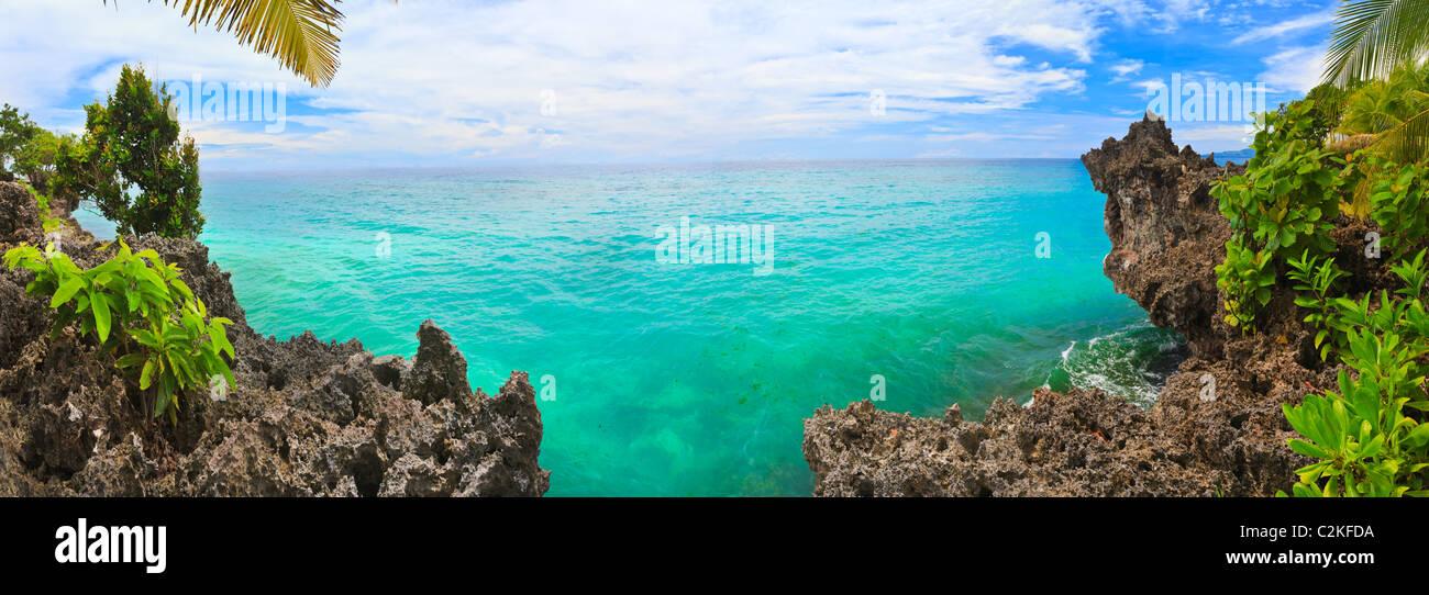 Panorama der tropischen Lagune. Bohol. Philippinen Stockbild