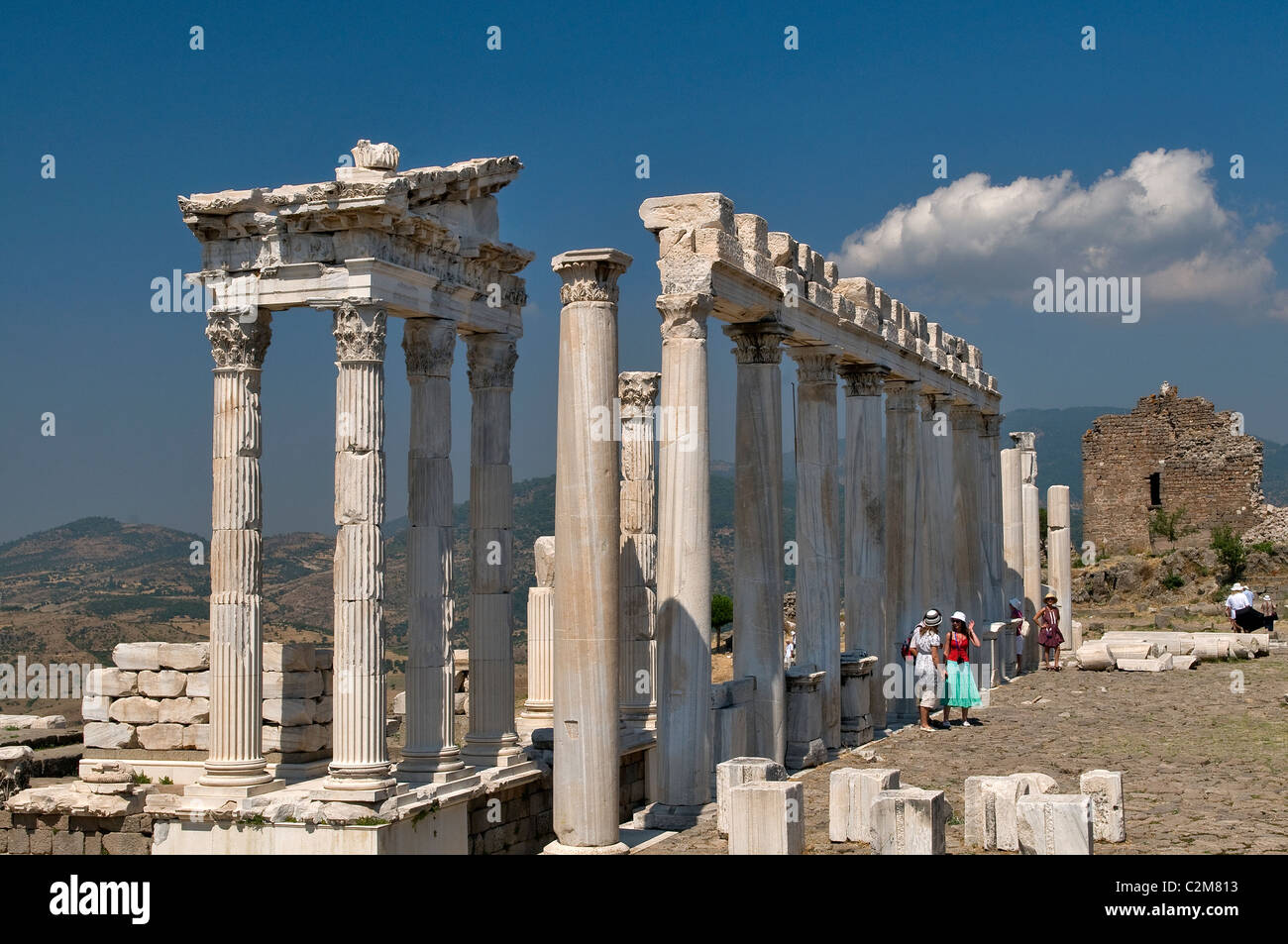 Die Ruinen des Tempels von Trajan in Pergamon Bergama Türkei Stockbild