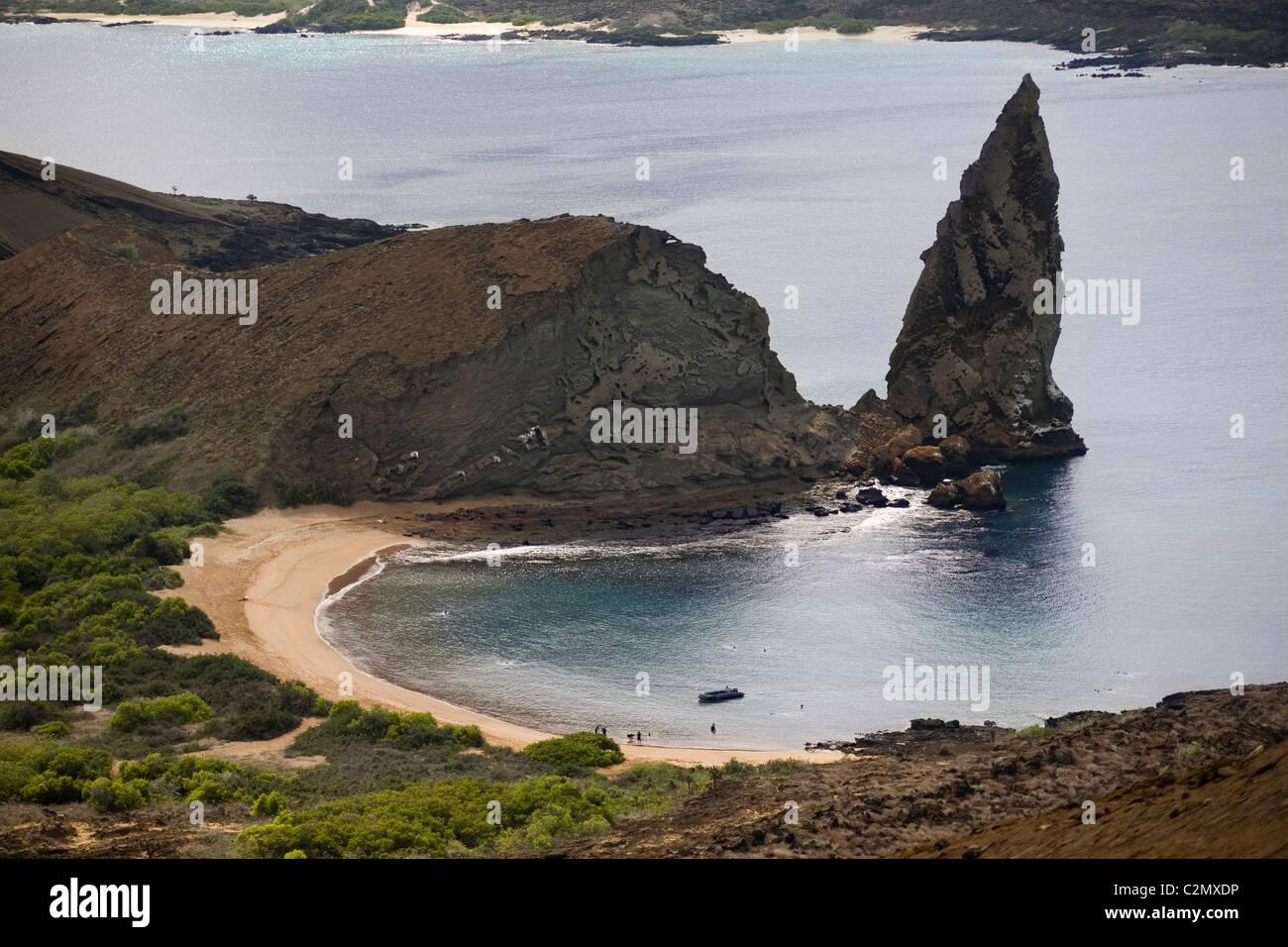 Ecuador Galapagos-Inseln, Bartolome Pinnacle & Strand Stockbild