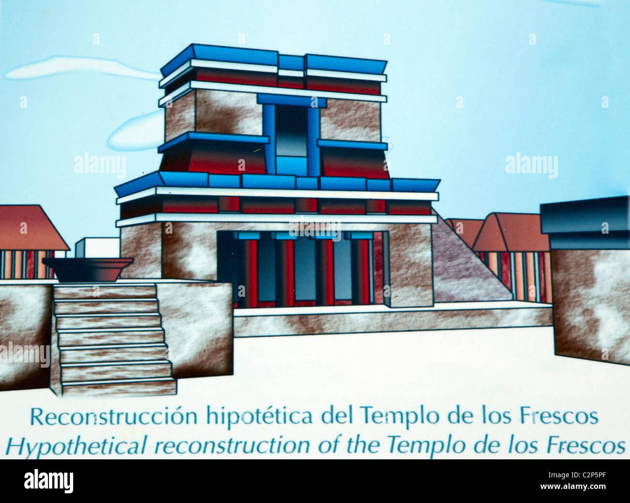 Rekonstruktion von Tulum Ruinen Tulum Quintana Roo Mexiko Stockbild