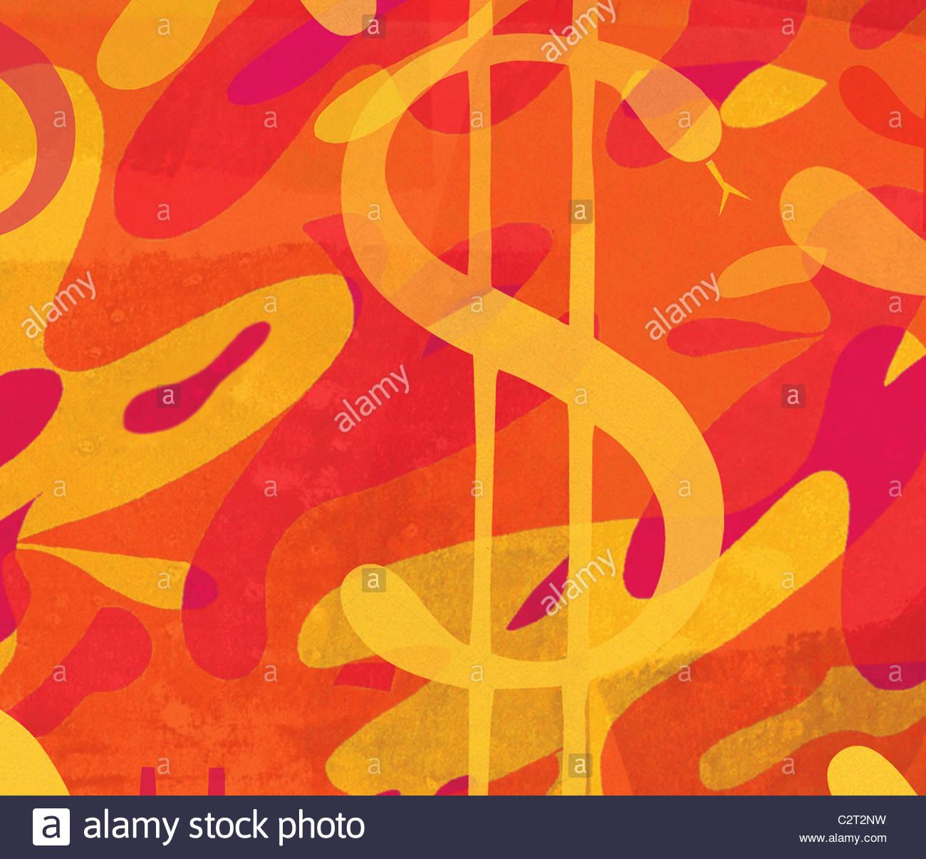 Abstraktes Muster mit Schlange als Dollarzeichen Stockfoto