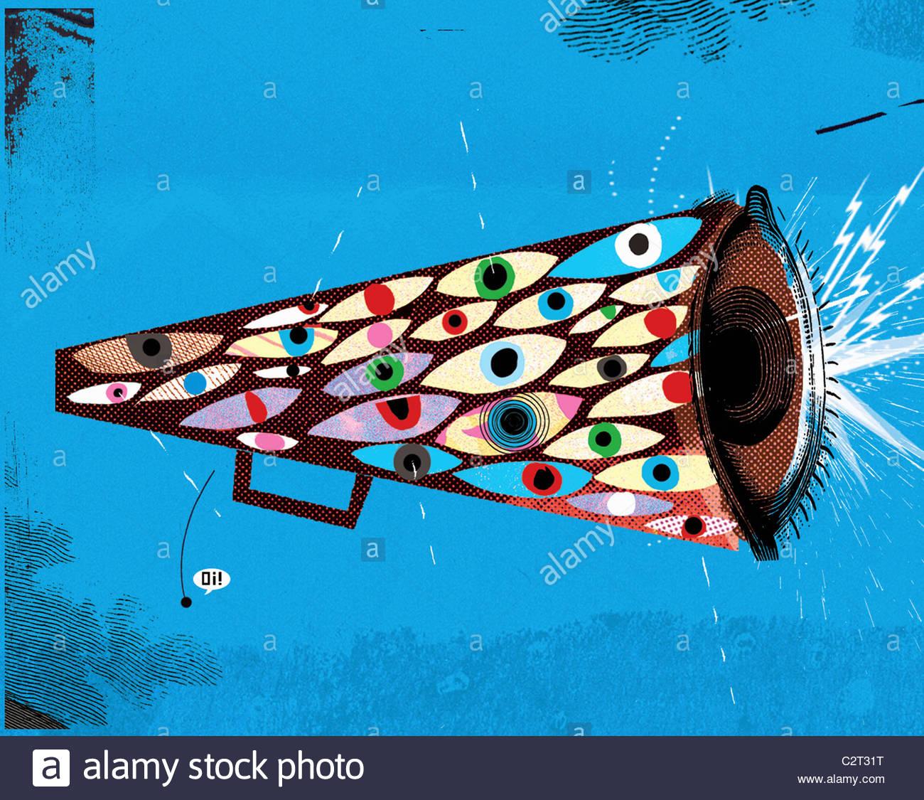 Auge Dekorationen auf Megaphon Stockfoto