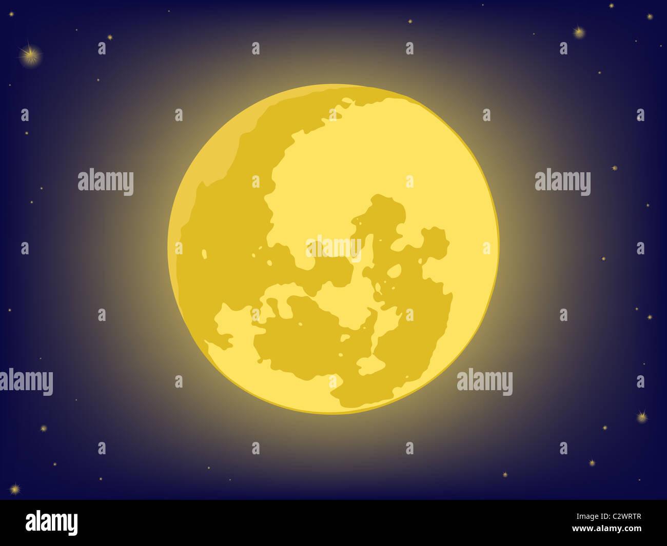 Mond am Nachthimmel. Vektor-Hintergründe Stockfoto