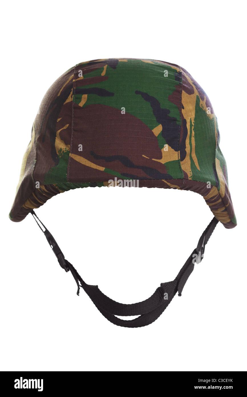 Foto eines Camouflage-Helms Ausschneiden auf weißem Hintergrund. Stockbild