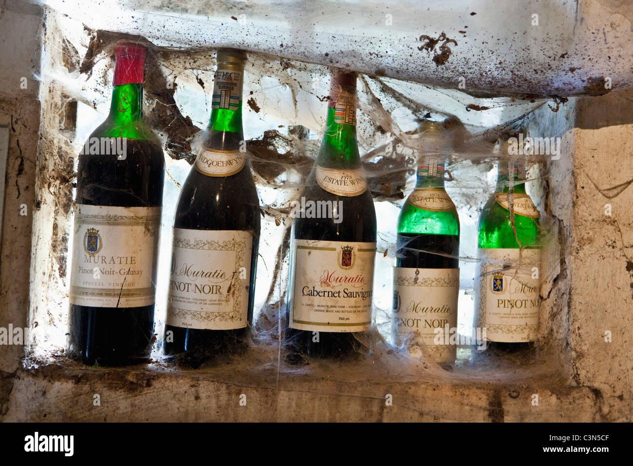 Südafrika, Western Cape, Stellenbosch, Muratie Wine Estate. Flaschen im Degustationsraum. Stockbild