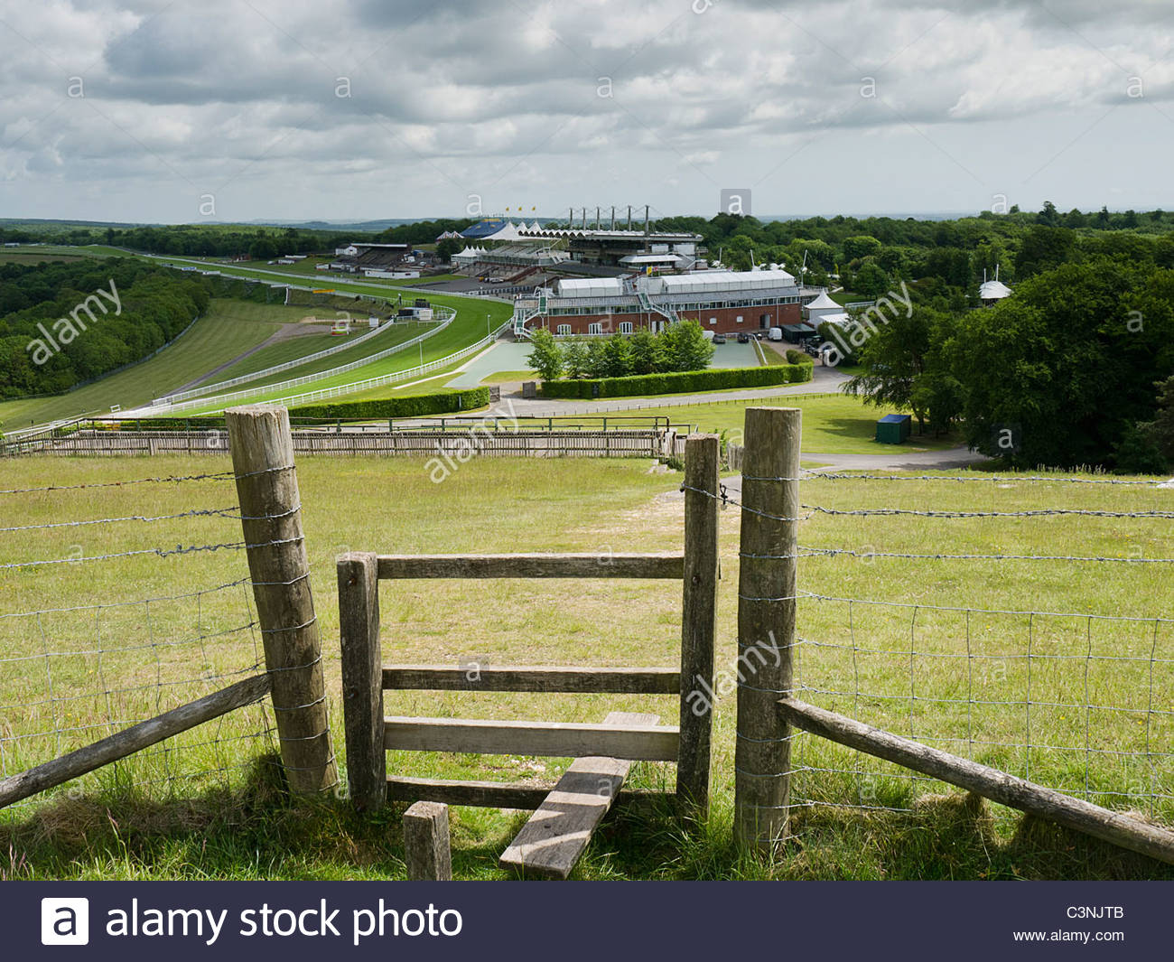 Goodwood Race Course von der Trundle Stockbild
