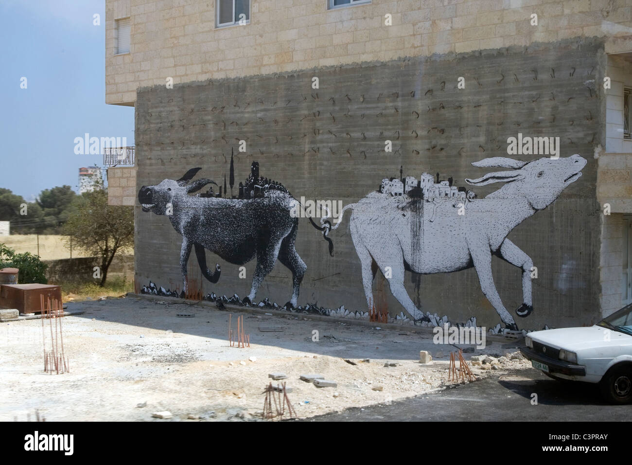 Ein Graffiti-Gemälde, den arabisch-israelischen Konflikt im Nahen Osten. Stockbild