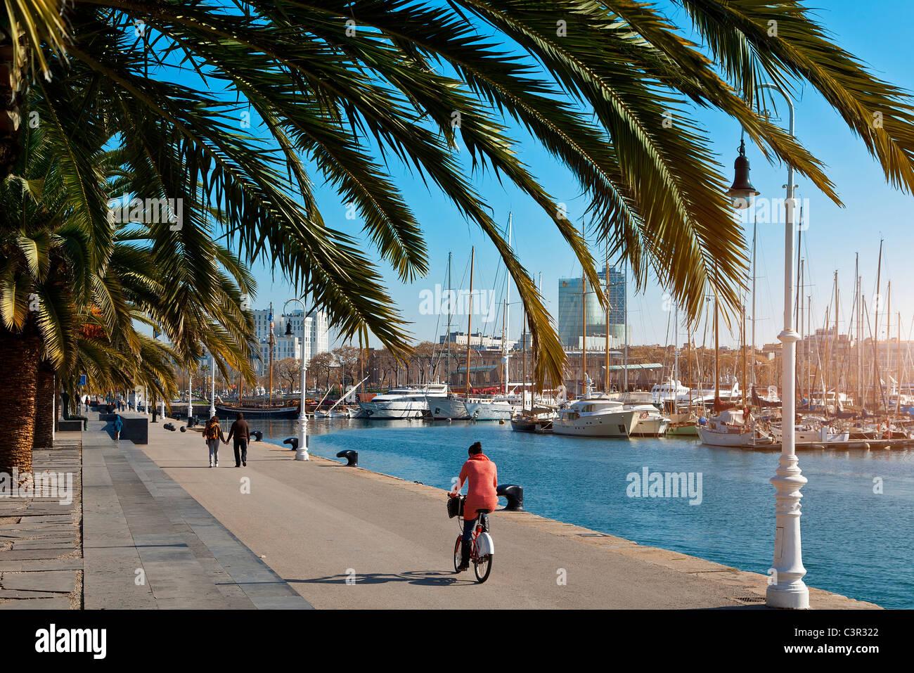 Barcelona, Rambla de Mar, Port Vell Stockbild