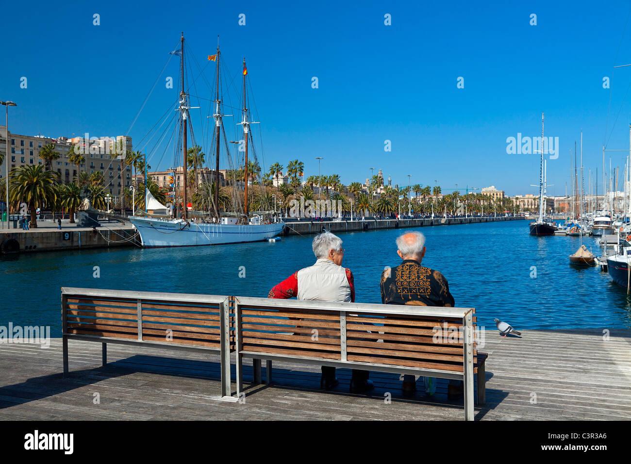 Barcelona, Rambla del Mar Fußgängerbrücke in Port Vell Stockbild