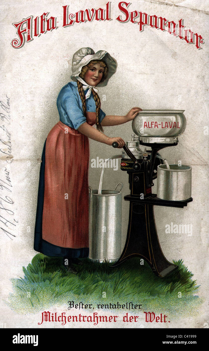 Werbung, Haushalt Gerät, Alfa Laval Seperator, Milch, Separator, Broschüre, Ende Anfang 1913/1914, Hausfrau, Stockbild