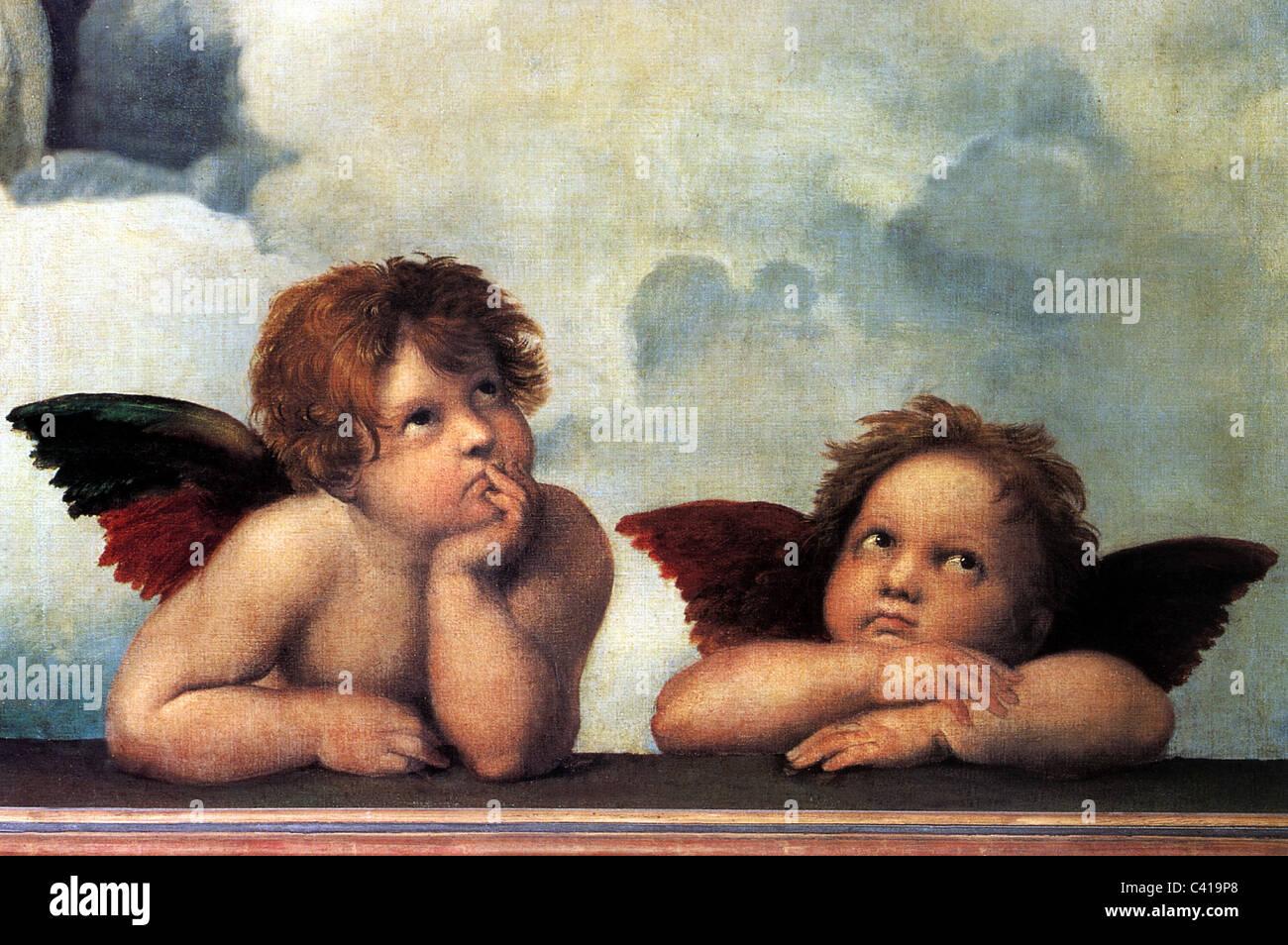 """Bildende Kunst, Raphael, Santi: """"Der Engel der die Sixtinische Madonna"""", detail aus dem Gemälde """"Sixtinische Madonna"""", Stockfoto"""