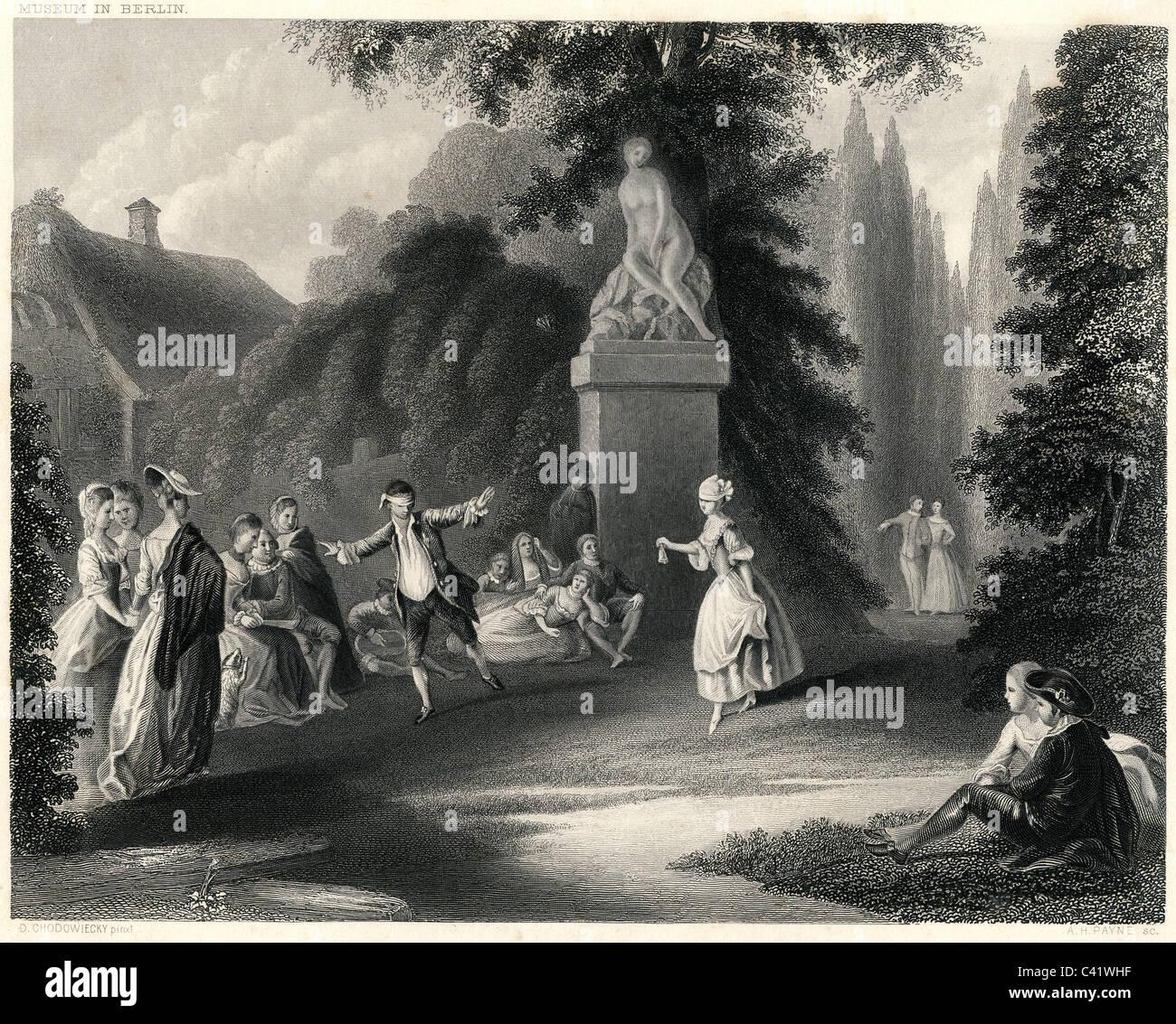 Spiel, Gesellschaftsspiel, blindekuh, Stahlstich von Albert Henry Payne nach Sehnsüchten von Daniel Chodowiecki, Stockbild