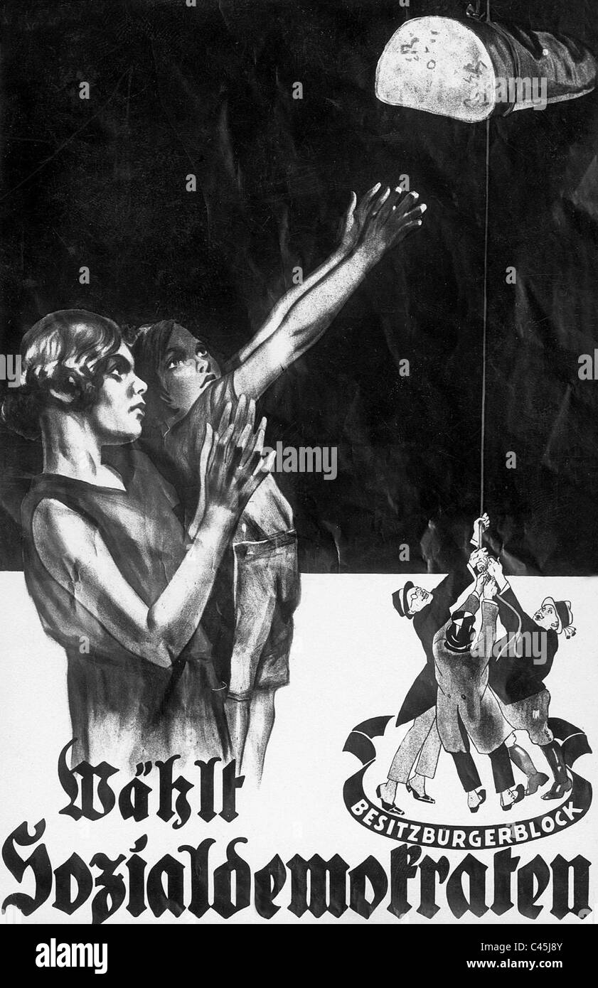 Wahlplakat der SPD in den 30er Jahren Stockbild
