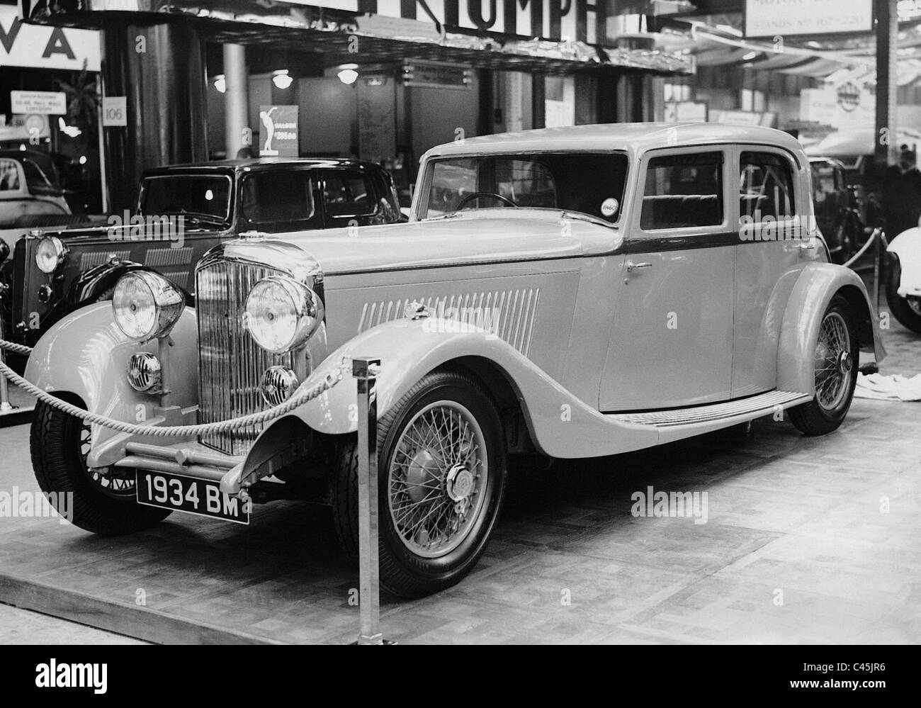 Bentley auf einem Autosalon, 1933 Stockbild