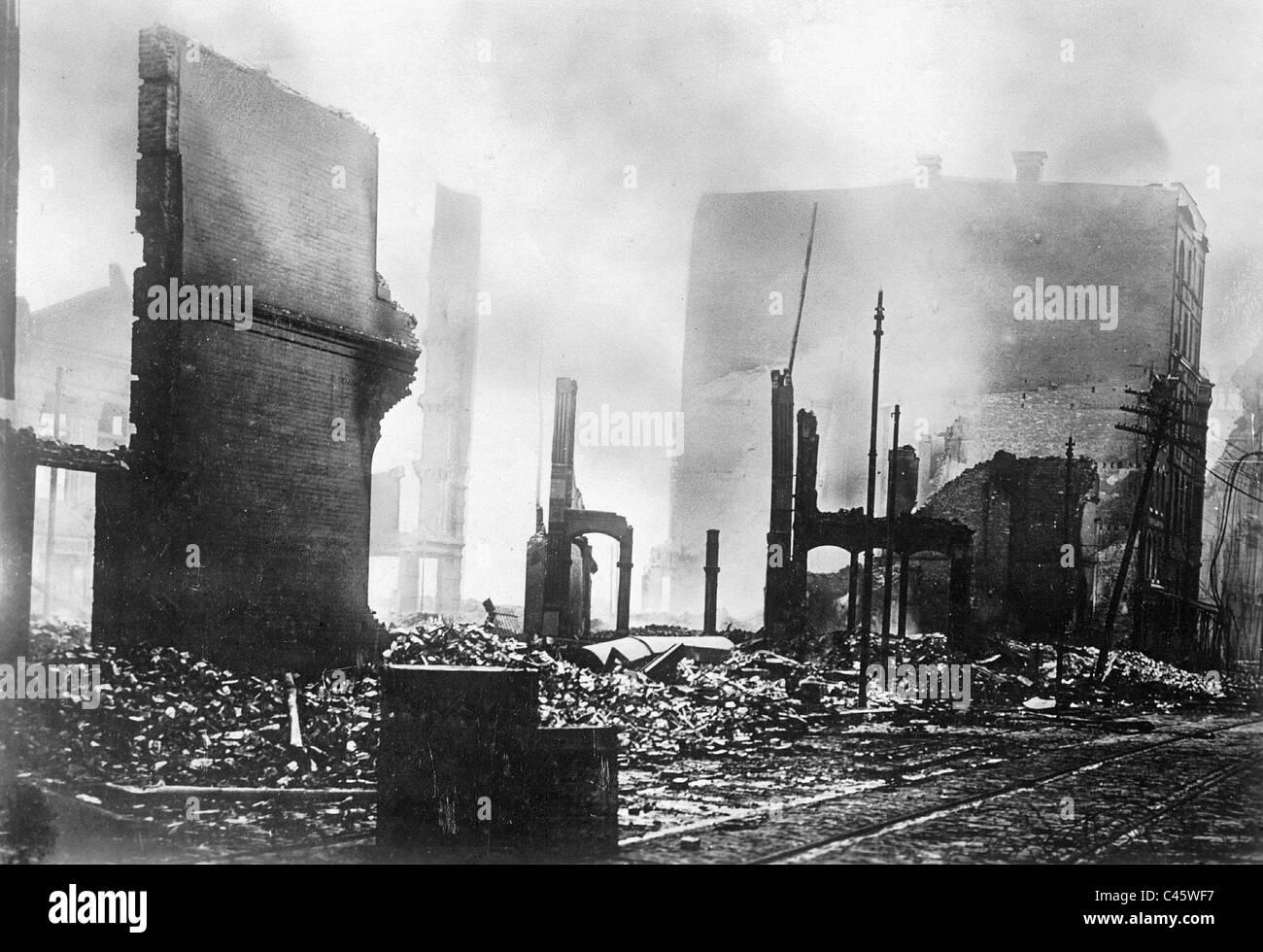San Francisco nach dem Erdbeben von 1906 Stockbild