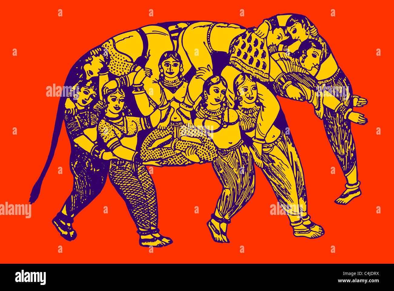 Elefant aus reinen Frauen Stockbild