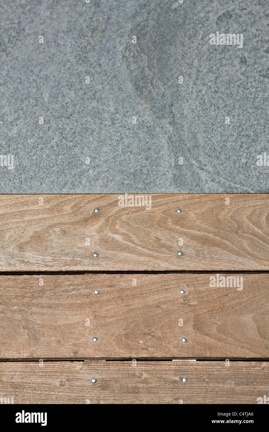 Holzböden und Pflasterstein Stockbild