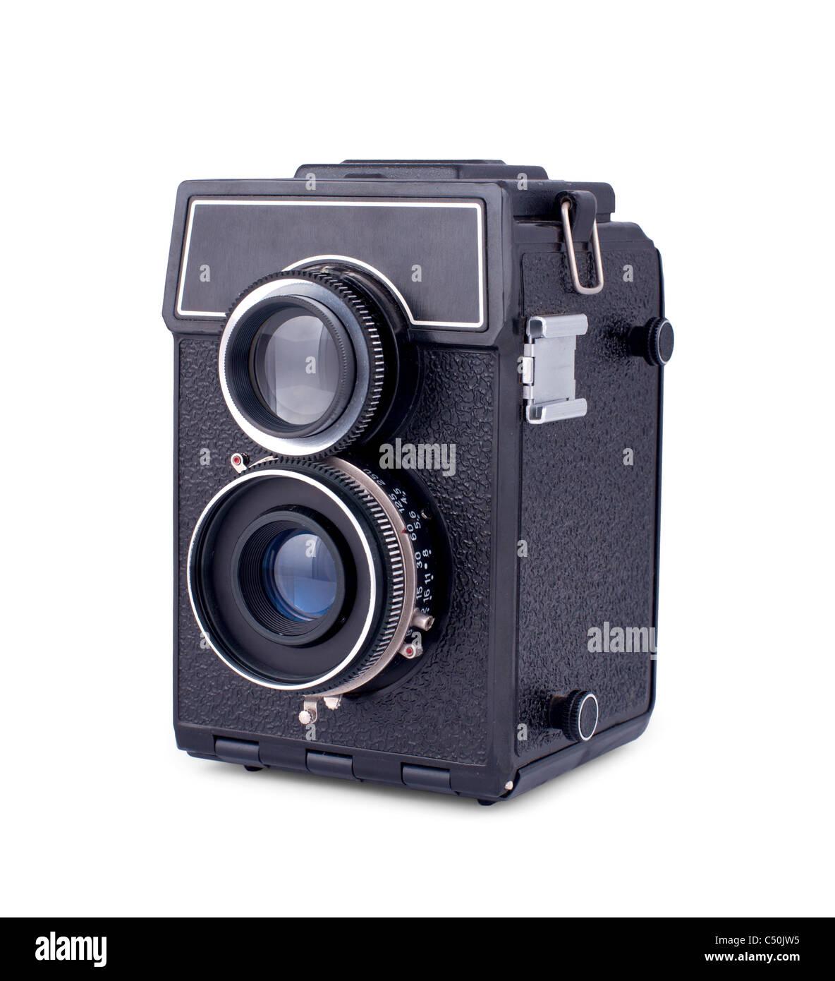 Sowjetische Retro-zwei Objektiv-Fotokamera isoliert auf weißem Hintergrund Stockbild