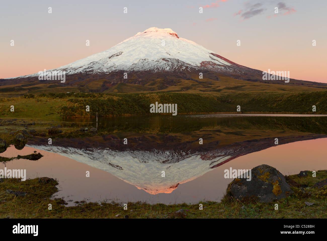 COTOPAXI VULKAN REFLEKTIEREN IN SANTO DOMINGO LAGUNE Stockbild