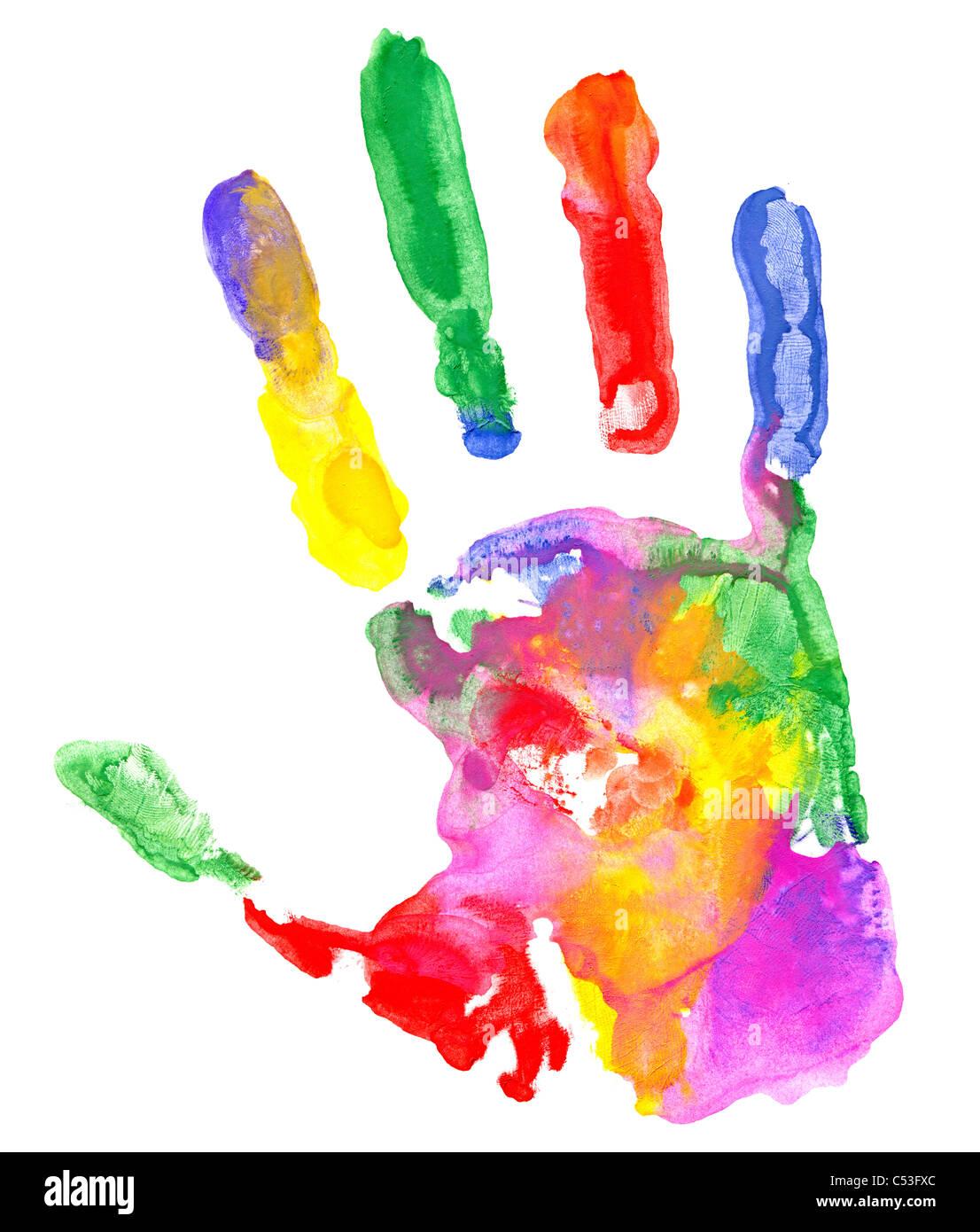 Nahaufnahme von farbigen Handabdruck auf weißem Hintergrund. Stockfoto