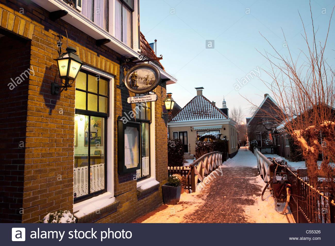 Niederlande, Hindeloopen, niederländische Hauptstadt des Eislaufs Kultur. Zeichen der dazugehörigen Skating Stockbild