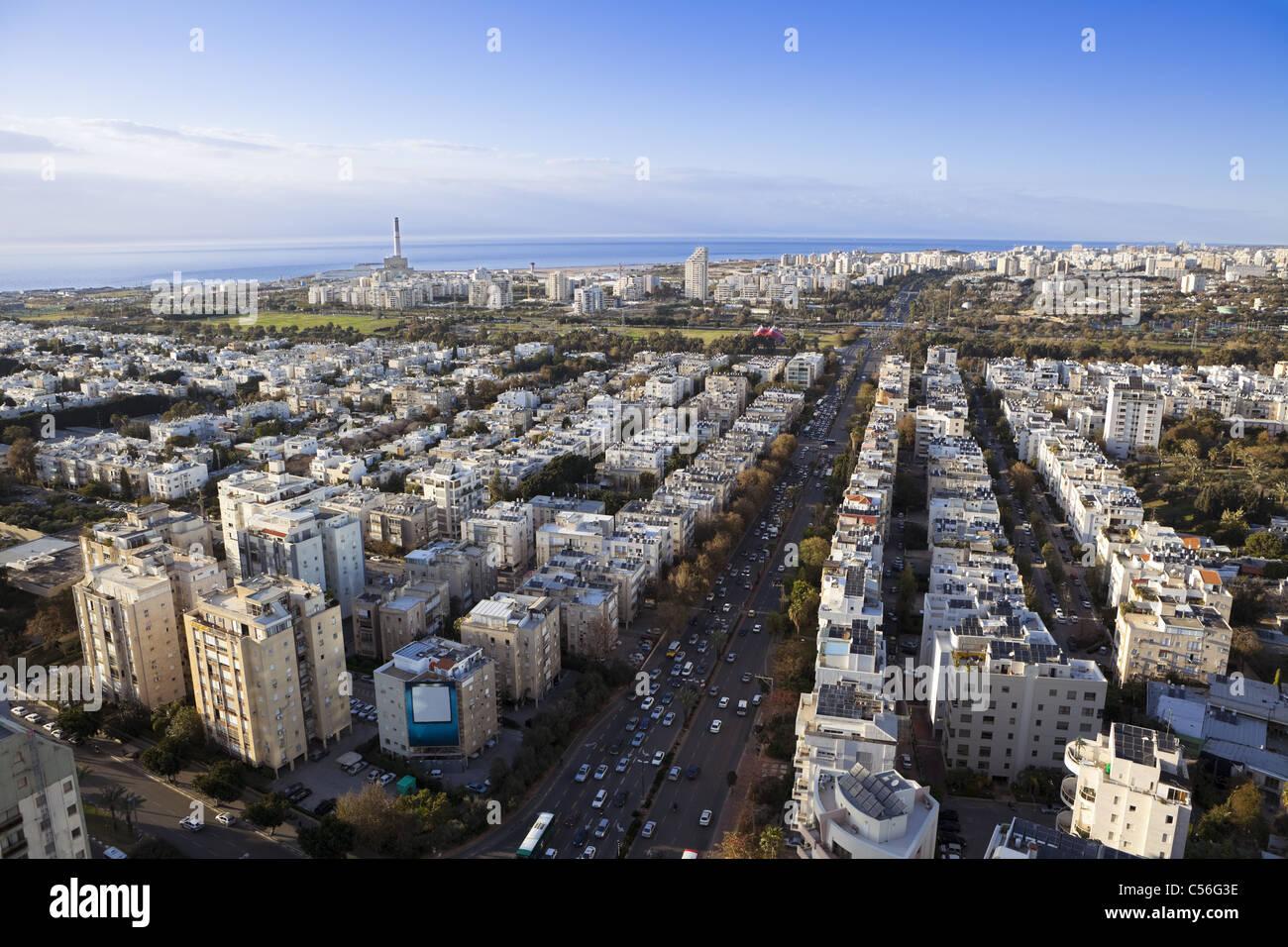 Skyline von Tel Aviv / Aerial view von Tel Aviv Stockbild