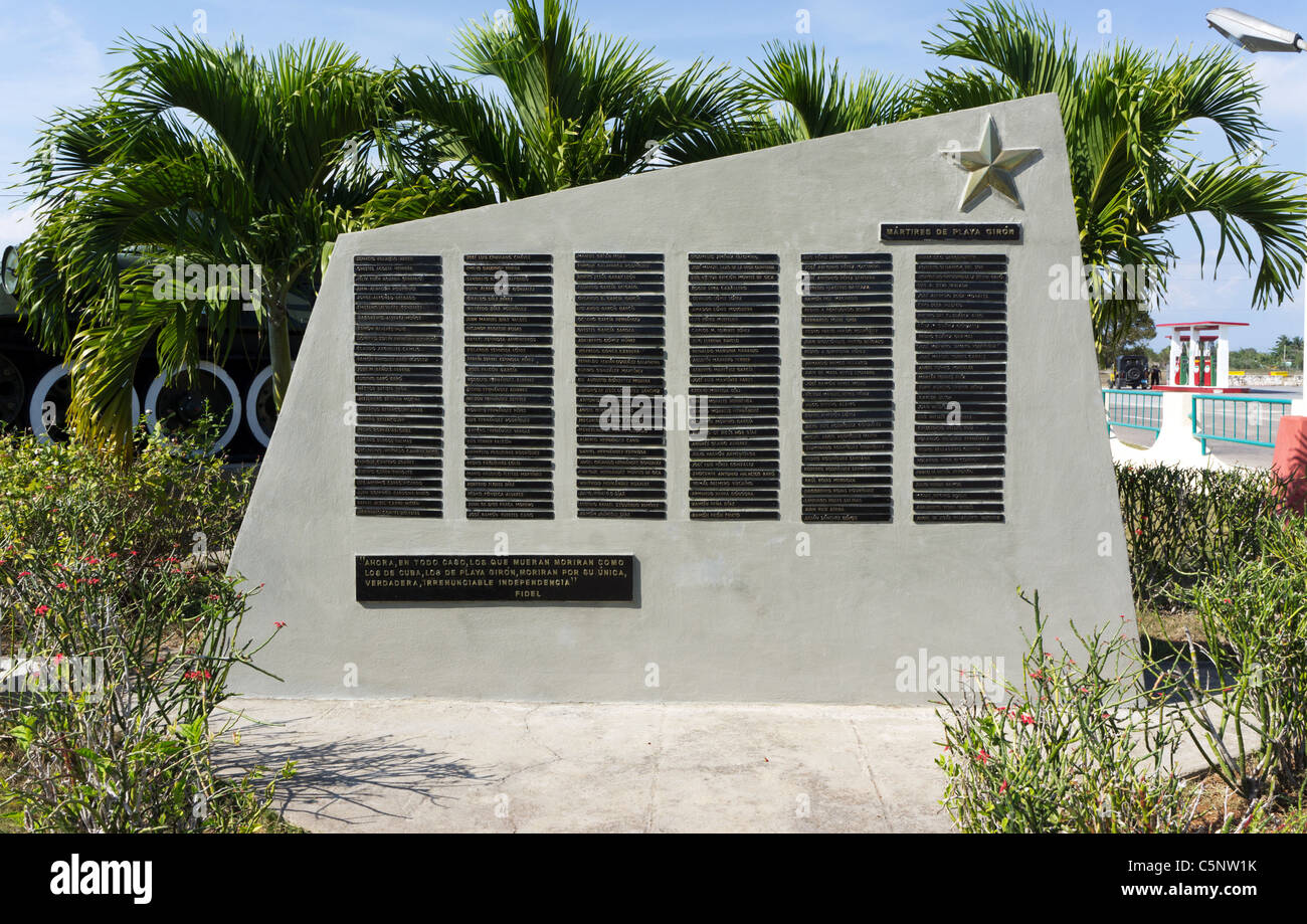 Das Denkmal für die Märtyrer von Playa Giron, Kuba. Namen der 156 Kubaner, die Verteidigung gegen die Stockbild