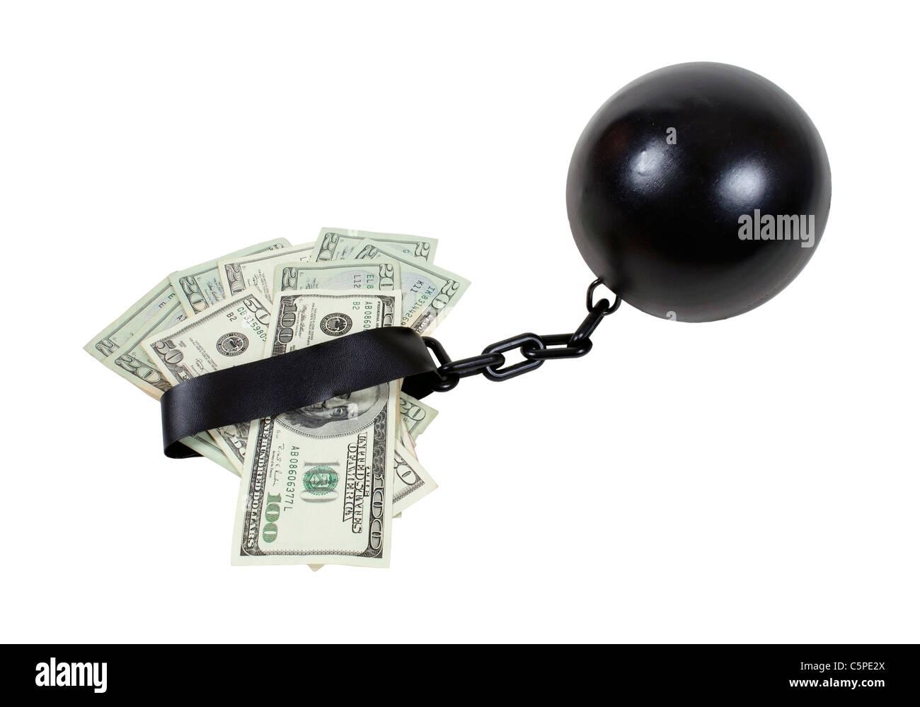 Geld durch Interesse Geld befestigt, eine Kugel und Kette - Pfad enthalten gebunden Stockbild