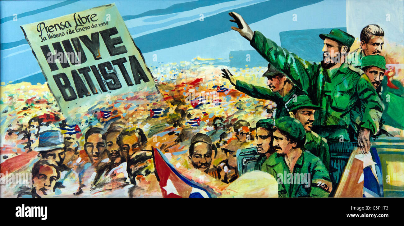Kubanischen politischen Plakat mit Fidel Castro bei einer Kundgebung feiert Erfolg der kubanischen Revolution. Stockbild