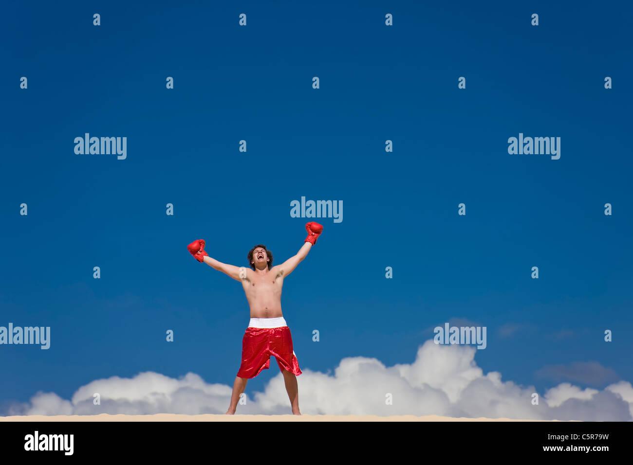 Ein Boxer feiert auf Wolke sieben. Stockbild
