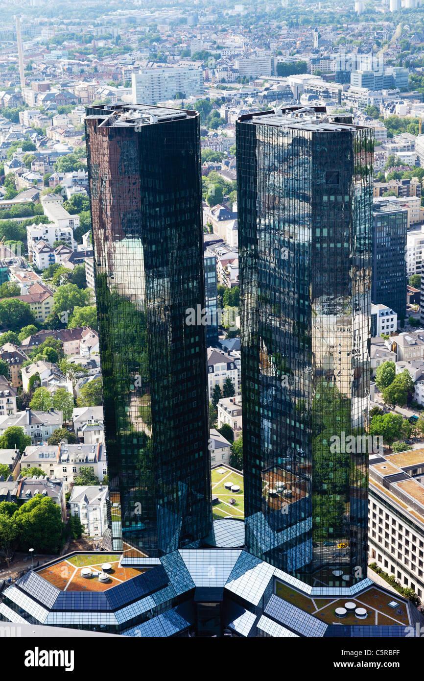 Deutschland, Hessen, Frankfurt am Main, Ansicht der Zwillingstürme der Deutschen Bank Stockbild