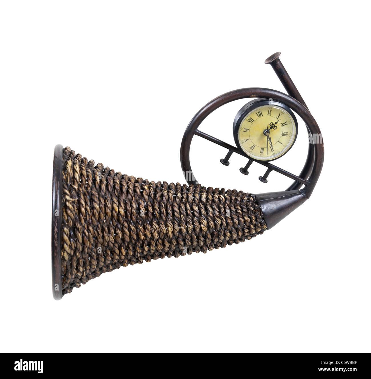 Zeit für viel gezeigt durch ein Flechtweide Horn Füllhorn, die symbolisch für reichlich Fülle Stockbild