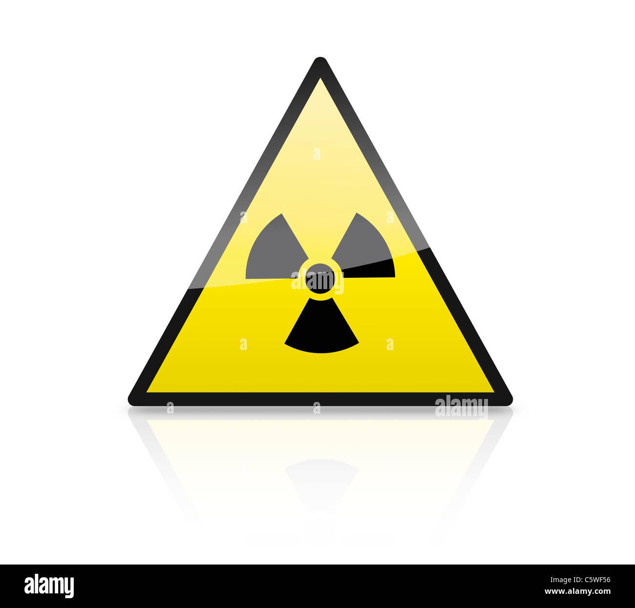 Nahaufnahme der Illustration der Atom Zeichen auf Dreieck Stockbild
