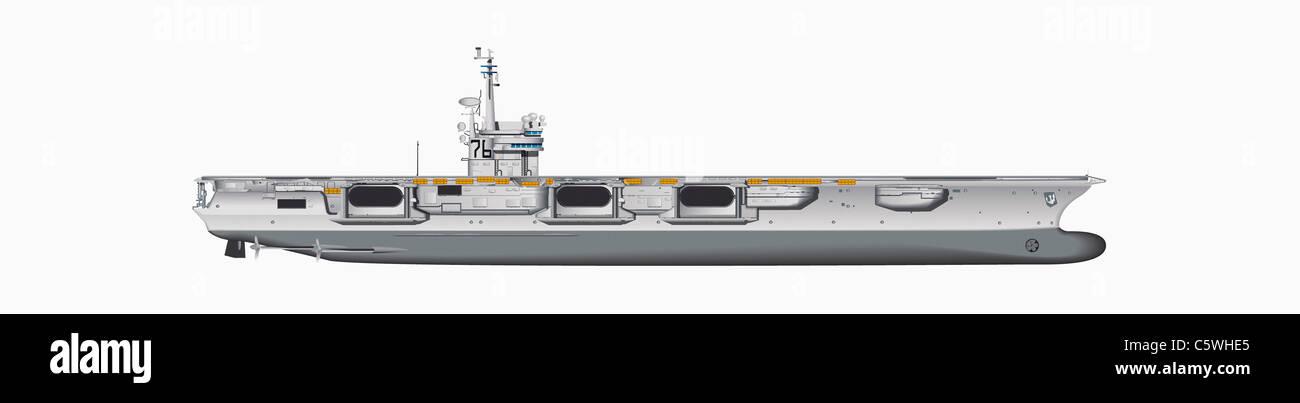 Illustration der Flugzeugträger vor weißem Hintergrund, Nahaufnahme Stockbild