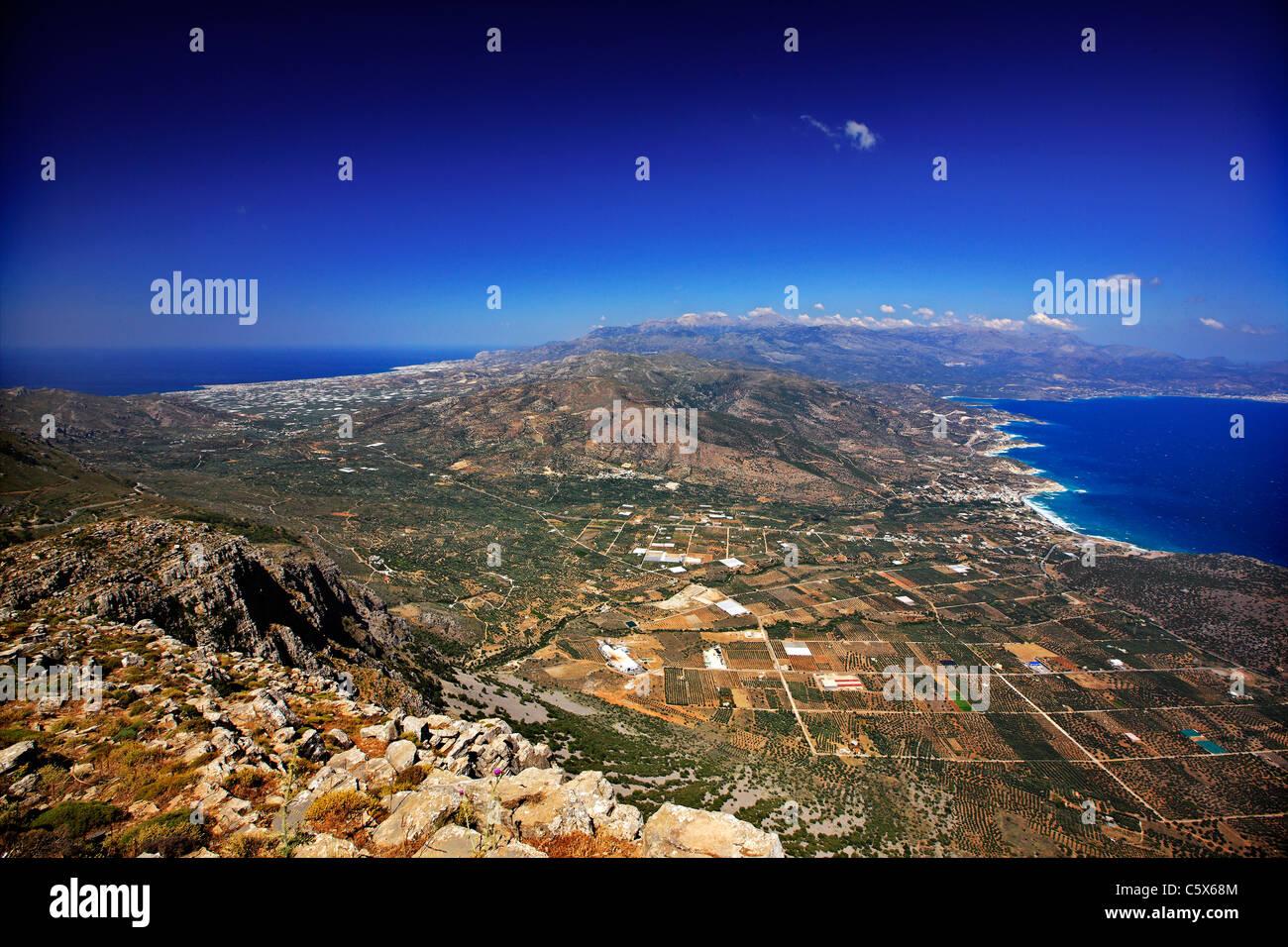 Die schmalsten Punkt von Kreta, 12 km (in einer geraden Linie), von Ierapetra nach links (Süden) Pacheia Ammos Stockbild