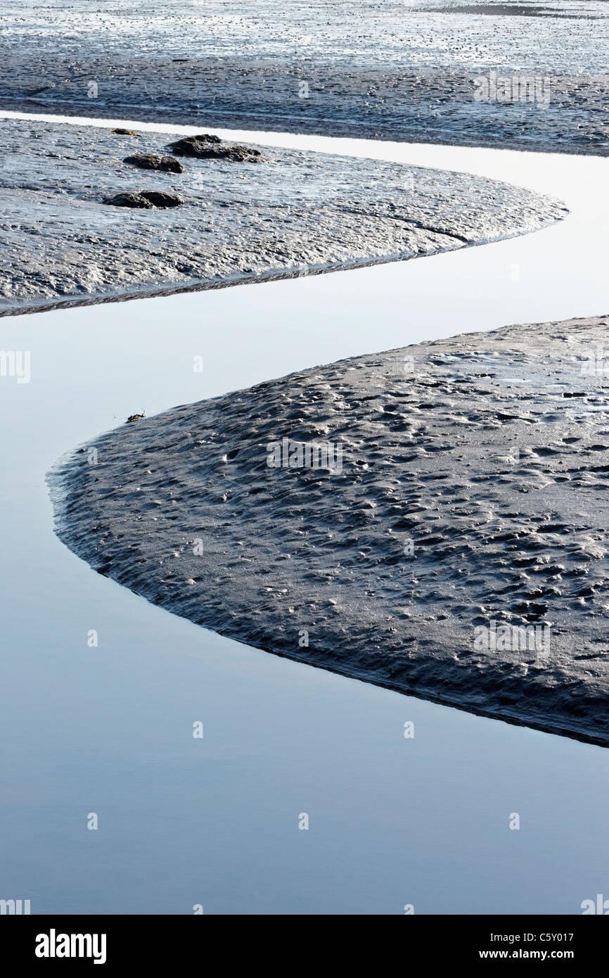 Geschwungene Flussbettes, Kyle of Tongue, Sutherland, Highland, Schottland, UK. Stockbild