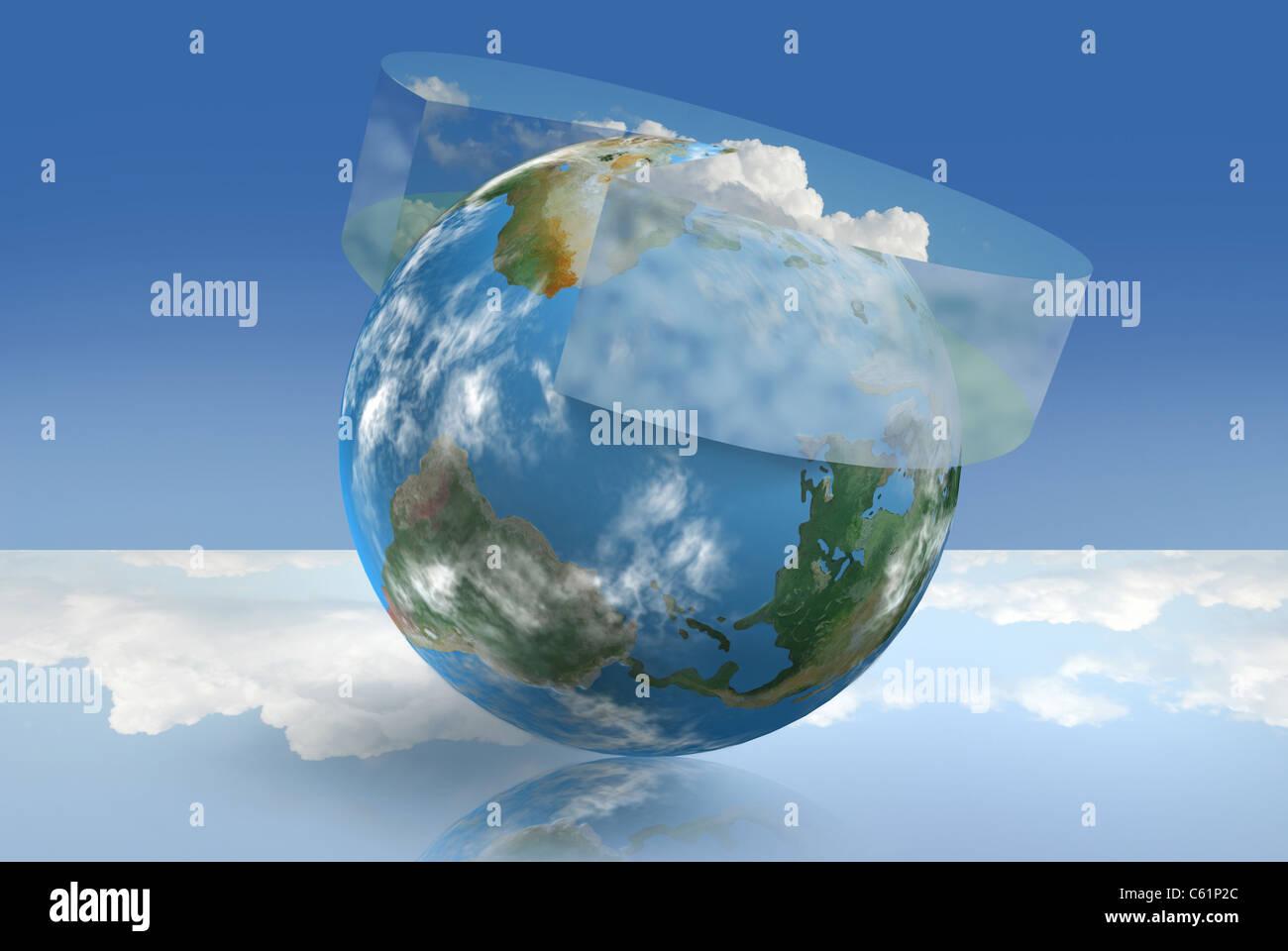 Klimatechnik, illustriert mit einer atmosphärischen Kreisdiagramm Stockbild