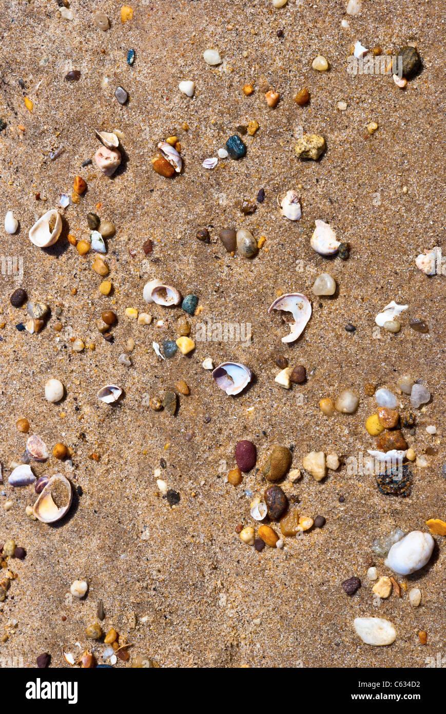 Steinen, Muscheln, Sand Abstraktion Stockbild