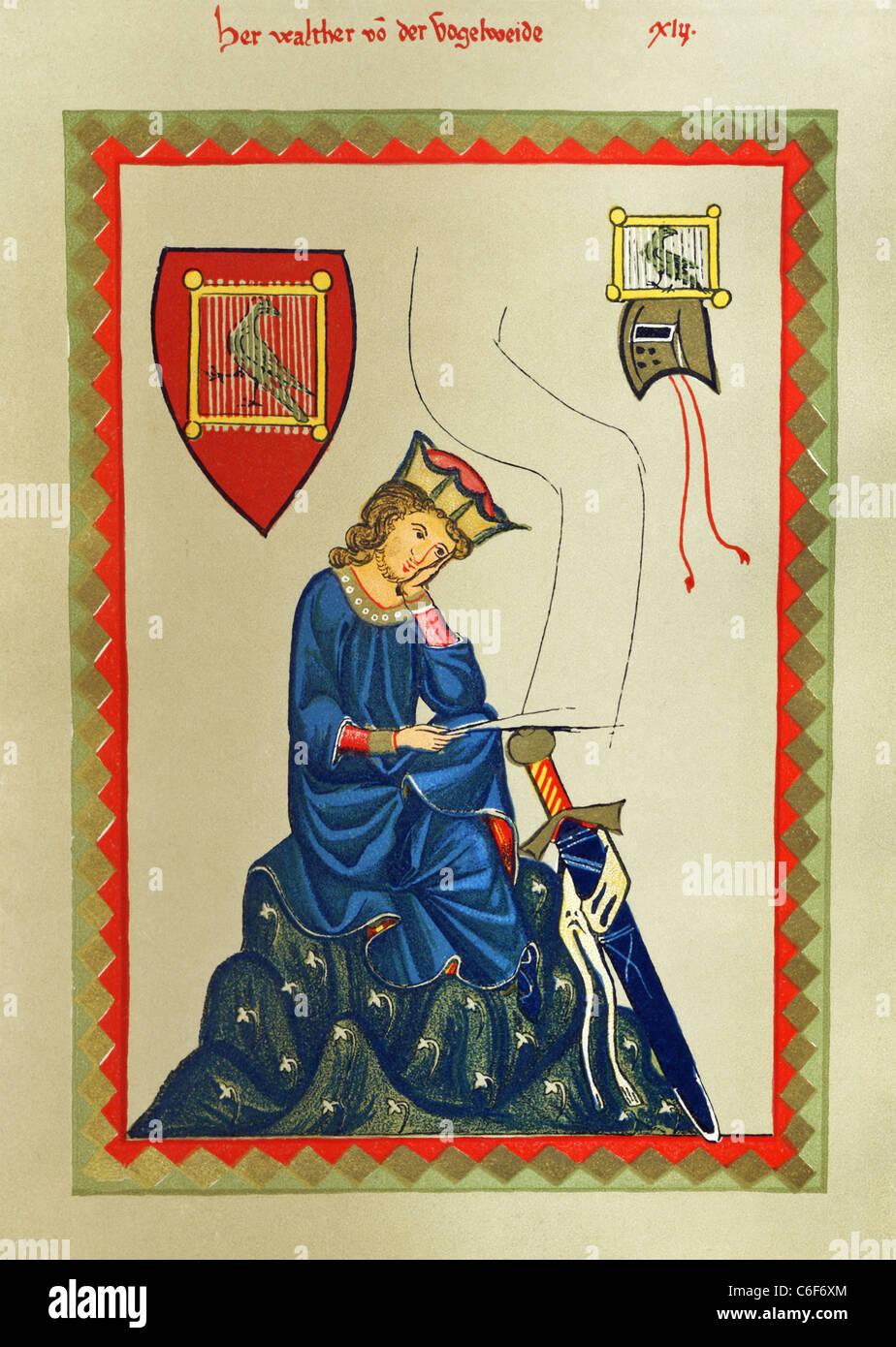 Walther von der Vogelweide (c. 1170-c. 1230) war eine renommierte mittelhochdeutschen Lyriker. Er war auch ein Komponist. Stockbild
