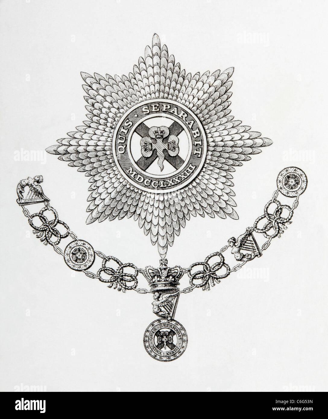Stern, Kragen und Abzeichen des Ordens St. Patrick. Stockbild