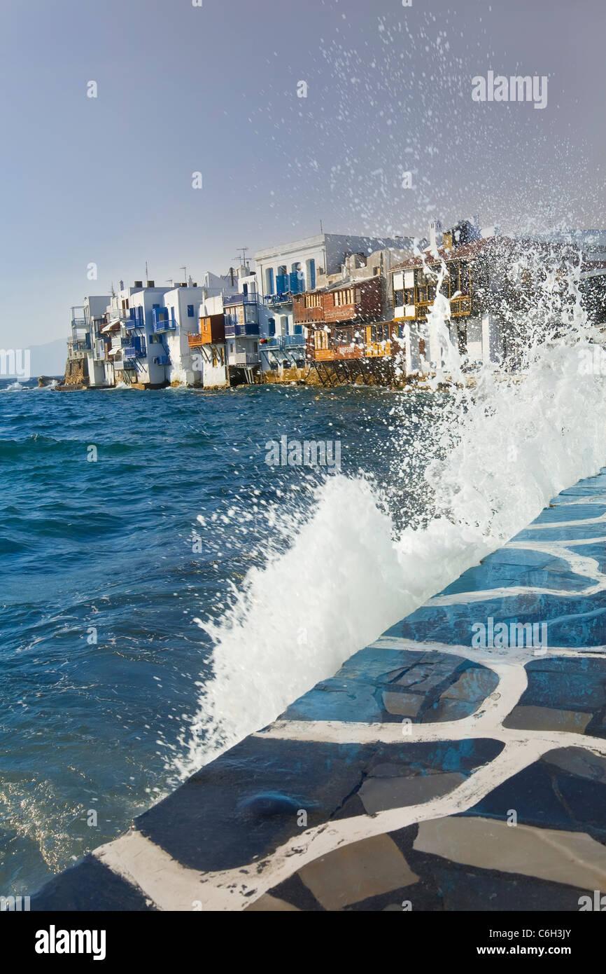 Kleines Venedig Waterfront, Mykonos (Chora), Kykladen, Griechenland, Europa Stockbild