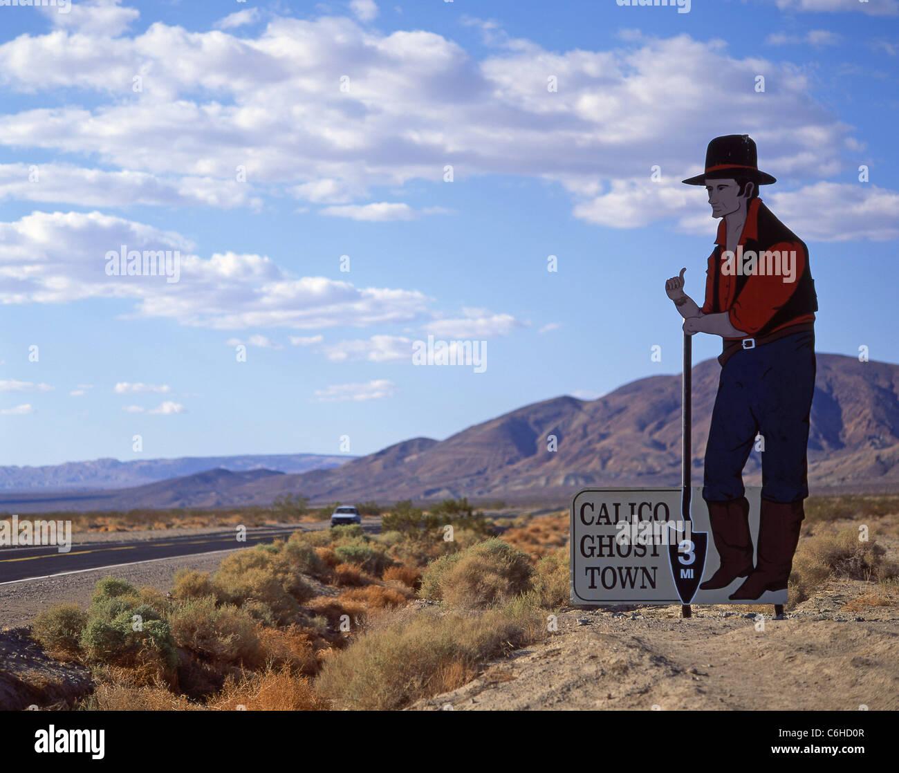 Ortseingangsschild für Bergbau Geisterstadt Calico, Barstow, San Bernardino County, Kalifornien, Vereinigte Stockbild