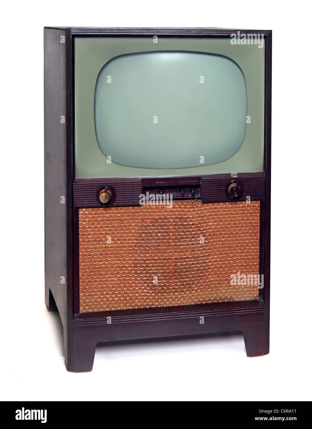 Jahrgang 1950-TV Fernsehen, Isolated on White Background Stockbild