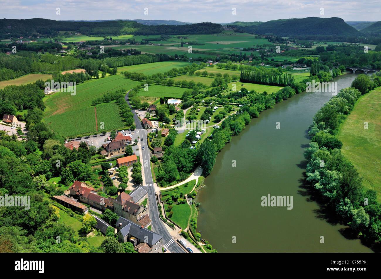 Frankreich, Perigord: Blick vom Chateau de Beynac auf das Dordogne-Tal Stockbild