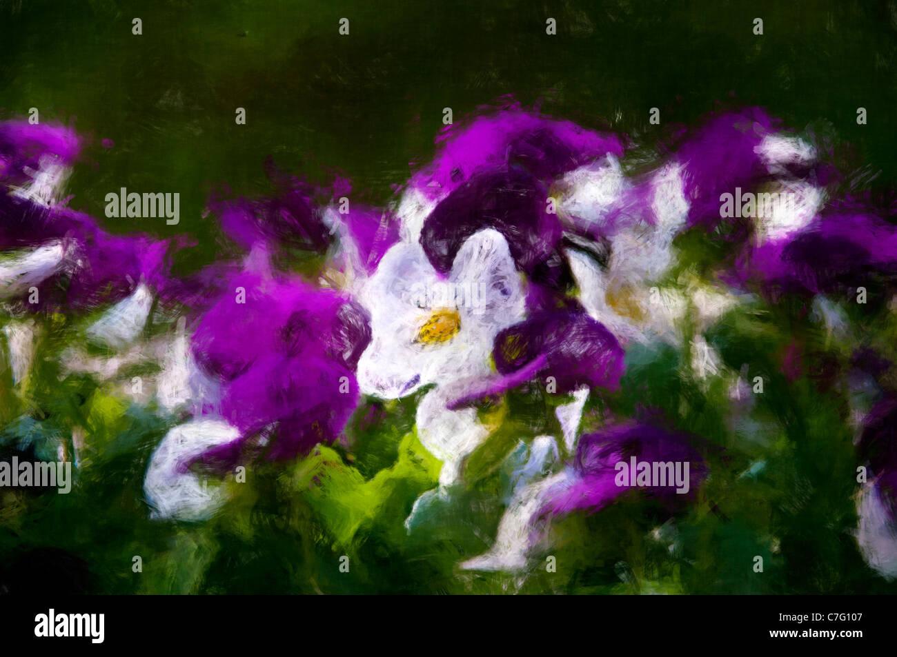 Ölgemälde Blumen Stockbild