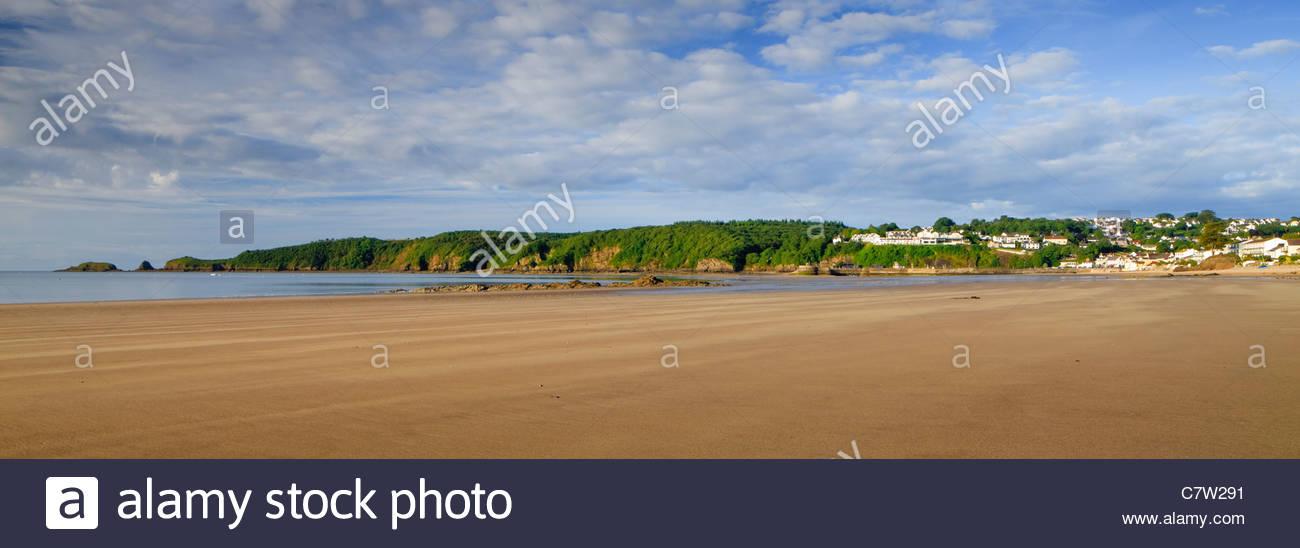 Saundersfoot Strand Pembrokeshire Wales Stockbild