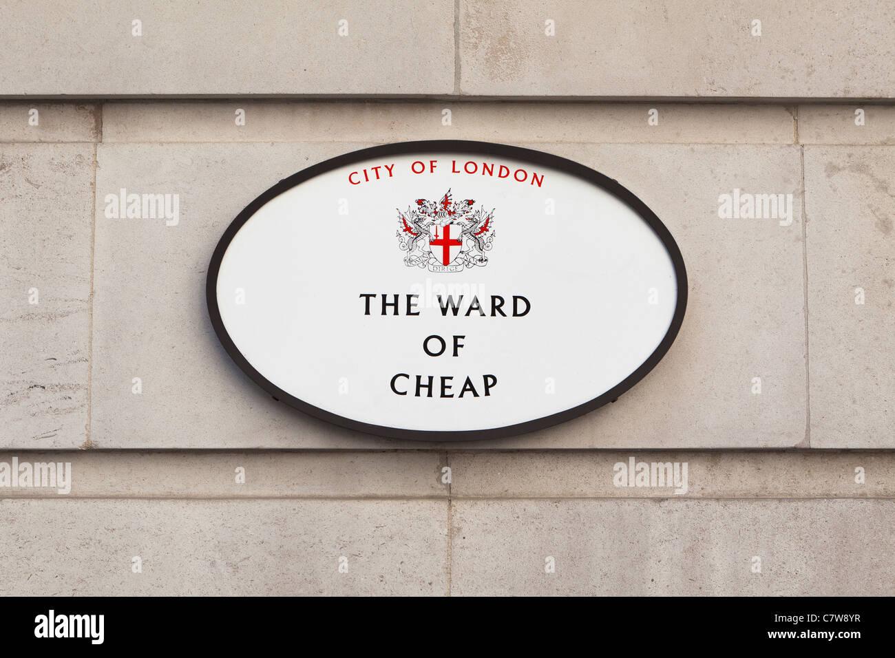 Das Ward billig Zeichen, London, England Stockbild