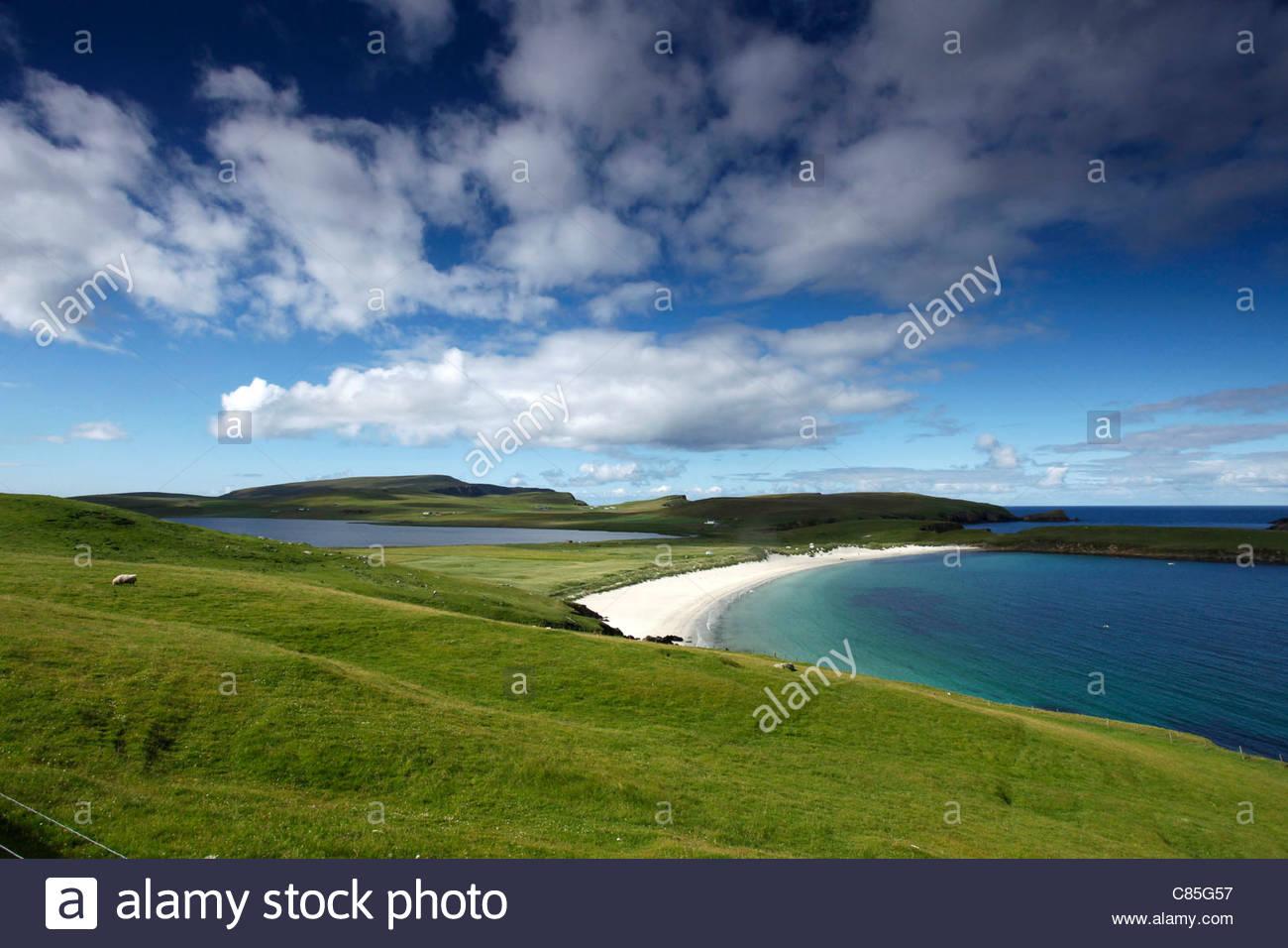 Spiggie Strand, Mainland, Shetland-Inseln, Schottland Stockbild