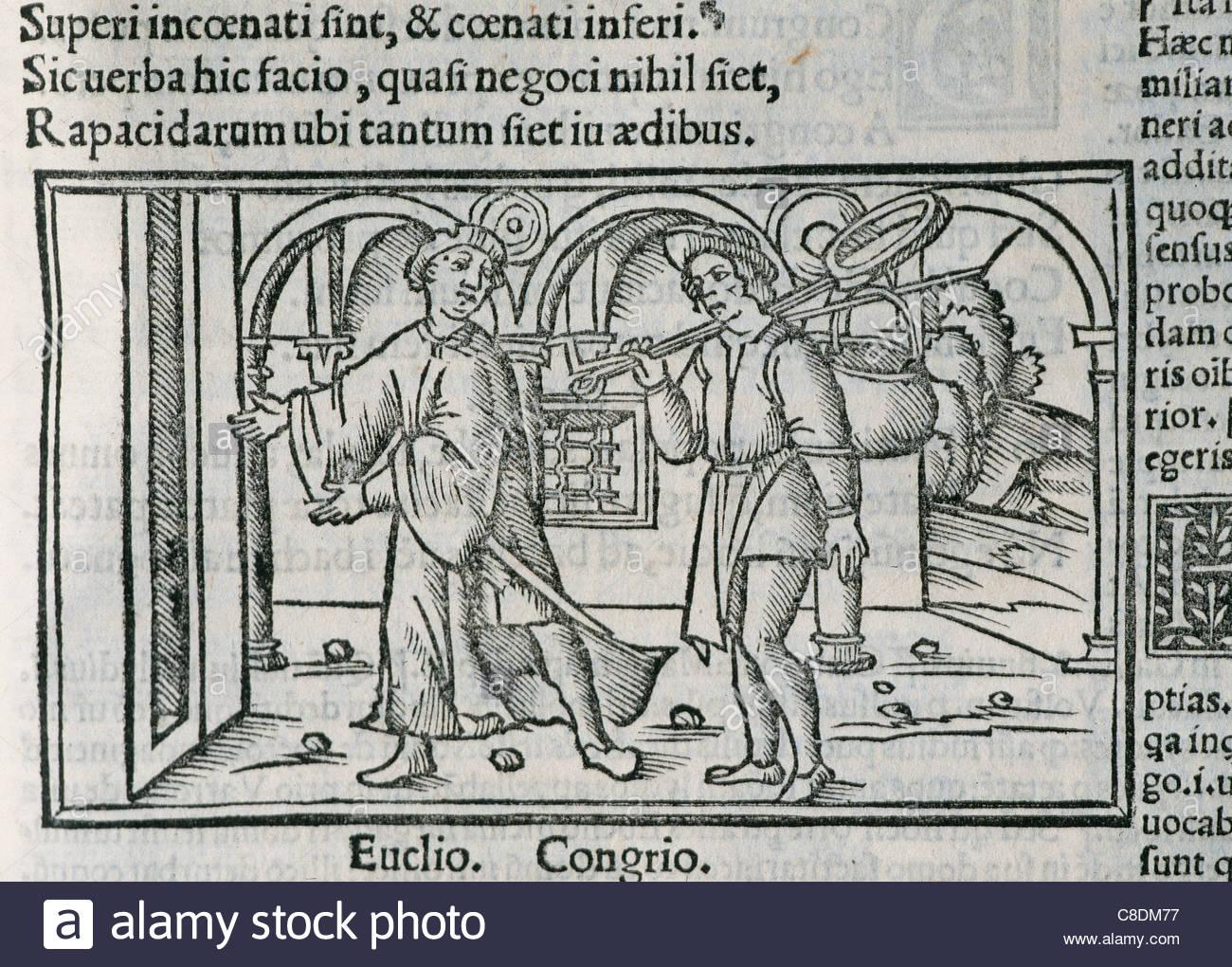 Titus Maccius Plautus (250-184). Lateinischer Dramatiker. Aulularia. Act I. Euclio und Congrio. Gravur. 1518. Stockbild
