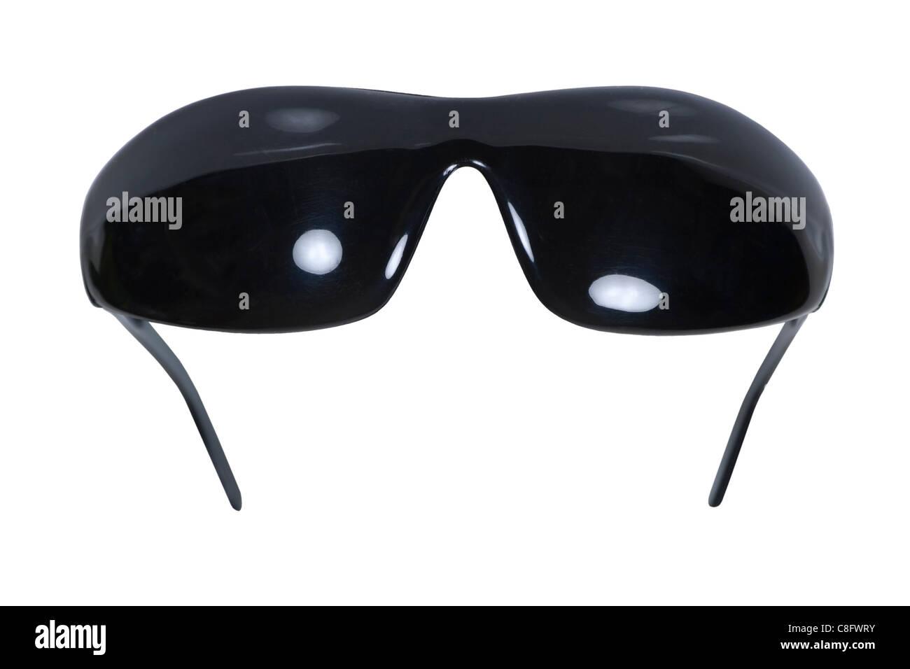Dunkel getönte Blackout-Brille zum Schutz der Augen und blinde Augen - Pfad enthalten decken Stockbild